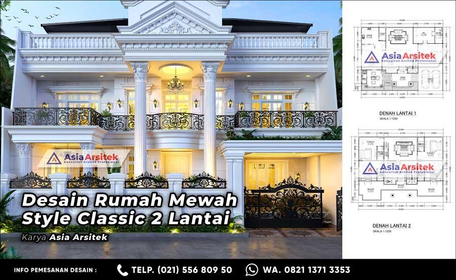 Desain Rumah Mewah Classic 2 Lantai 5 Kamar Tidur di Lahan 14 x 18 Meter