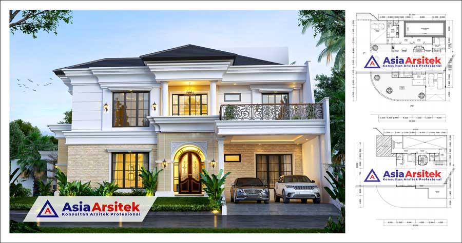 Desain Rumah Mewah Tropis Hook 2 Lantai Di Lahan 20x20 Meter Dengan Kolam Renang 5 Kamar
