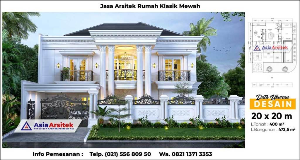 Jasa Arsitek Desain Rumah Klasik Mewah 2 Lantai Dengan Kolam Renang di Bogor Jawa Barat