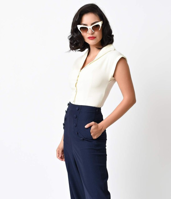 Vintage_Style_Off_White_Button_Up_Cap_Sleeve_Blouse__1