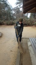 Mike doing a little sweeping