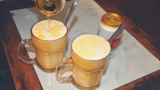 butterbeer, egg in beer