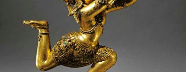 Nagaraja, Central Tibet, 15th century, gilt copper alloy with inlays of semiprecious stones, height 39.4 cm. The Kronos Collections. Credit: Richard Goodbody