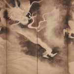 Left Screen: Dragons and Clouds byTawaraya Sotatsu, Japan, Edo period, early 1600s, pair of six-panel folding screens; ink and pink tint on paper, 171.5 x 374.3 cm (.229 overall), 171.5 x 374.6 cm (.230 overall). Gift of Charles Lang Freer, Freer Gallery of Art