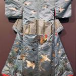 Winter kimono, silk satin and silk embroidery, 1890, Japan. Gift of Nathaniel J Kendall