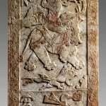 Carved tomb panel from sarcophagus from a tomb dated to the Sui dynasty, twelfth year of Kaihuang (592). Unearthed in 1999 from the tomb of Yu Hong at Wangguo village in Taiyuan, Shanxi ProvinceWest slab of the rear wall, marble, 37 7/8 x 19 3/8 x 4 3/4 inches. Collection of the Shanxi Museum