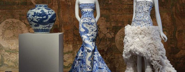 View of the exhibition: Chinese Export Vase (early 15th century, The Metropolitan Museum of art, Gift of Robert E Tod); evening dress by Roberto Cavalli, fall/winter 2005-6, courtesy of Roberto Cavalli; and evening dress by Alexander McQueen. Photo: Courtesy of the Metropolitan Museum of Art