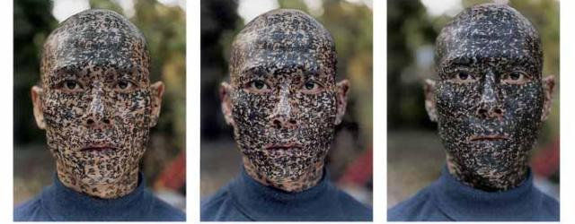 Family Tree (2001) by Zhang Huan (Chinese, b 1965), nine chromogenic prints, sheet (each): 53.3 x 41.9 cm. Lent by the Walther Collection. Photo: ©Yale University Art Gallery