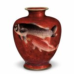 Vase with design of carp, one of a pair by Ota Jinnoei, , circa 1920, LACMA, promised gift from the Japanese Cloisonné Enamels Collection of Donald K Gerber and Sueann E Sherry. Photo © Museum Associates/LACMA