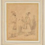Shah Jahan and Dara Shikoh by Rembrandt Harmenszoon van Rijn (Dutch, 1606-1669), about 1656 – 1661, brown ink and grey wash with scratchwork on paper, 21.3 x 17.8 cm. Credit: The J Paul Getty Museum, Los Angeles