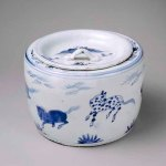 Water jar with horses, China, Ming dynasty (1368-1644), Chongzhen period (1628-44), 17th century, porcelain with cobalt blue under transparent glaze, Jingdezhen ware for the Japanese market, lent by Peggy and Richard M Danziger