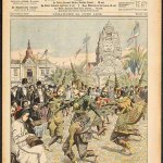 Le Petit Journal, illustrated supplement, 25 June, 1906. In 1906, Marseille, the main gateway to the colonies, was chose to hose the first ever colonial exhibition held in France. The Cambodian pavilion was based on a Khmer temple with the inspiration for the model taken from the Bayon. The result was a strange collage of architectural styles – while the face-tower used was a copy of one of Delaporte's plaster casts that was on display from the Indo-Chinese Museum at the Trocadero, the central twoer upon which it was superimposed owed its form to Angkor wat. At the same exhibition, the French public were enthralled (as was Rodin) by the Cambodian royal dance corps that was directed by Princess Samphoudry, King Sisowath's daughter.