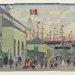 View of the French Quarter of Yokohama by Utagawa Kuniteru II (1829-1874), ukiyo-e, Japan, 1872, 35.7 x 73 cm, Paris, MNAAG, Komorimiya Donation (1999) © RMN-GP (MNAAG, Paris) / Thierry Ollivier