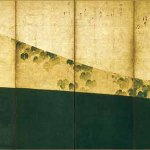 Attributed to Tawaraya Sotatsu, inscription by Karasumaru Mitsuhiro, Ivy Path, Edo period, 17th century, pair of six-panel folding screens, ink and colours on gold leaf, Shokoku-ji, Kyoto. Important Cultural Property