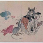 Mice Eating a Fish Head (1881) by Kawanabe Kyosai (1831-1889), album page from Drawings for Pleasure, print, nishike-e, Souris mangeant une tête de poisson, 21.1 x 27.2 cm, Paris, MNAAG © RMN-GP (MNAAG, Paris) / Harry Bréjat