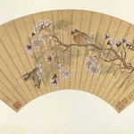 Crab Apple and Mountain Birds, by Qiu Ying, Ming dynasty, circa 1534-42, fan painting, ink and colours on gold-flecked paper, 10 1/4 × 21 3/8 in © Shanghai Museum