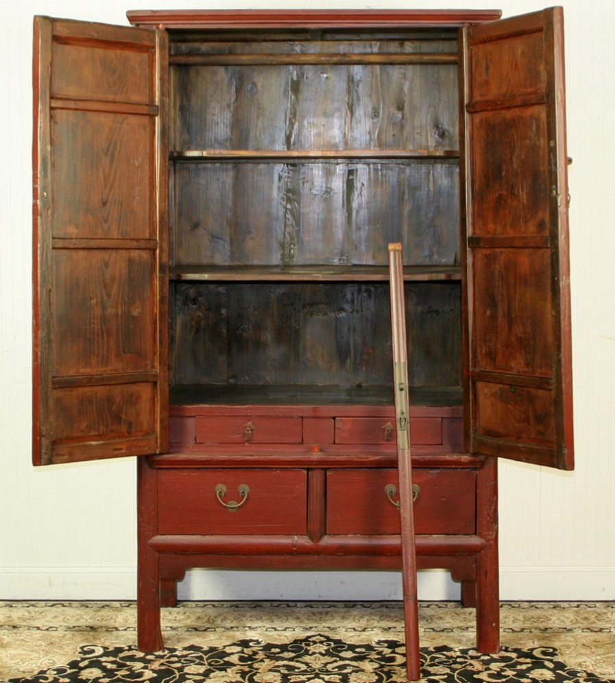 - Antique Chinese Red Brown Noodle Cabinet Wedding Wardrobe
