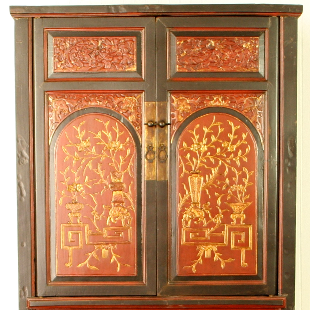 - Antique Chinese Wedding Wardrobe Cabinet Red Brown Gold