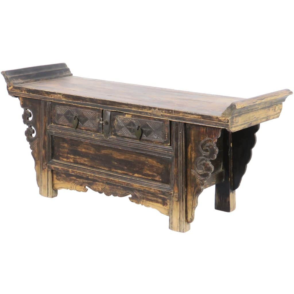 Antique Chinese Flange Top Kang Table