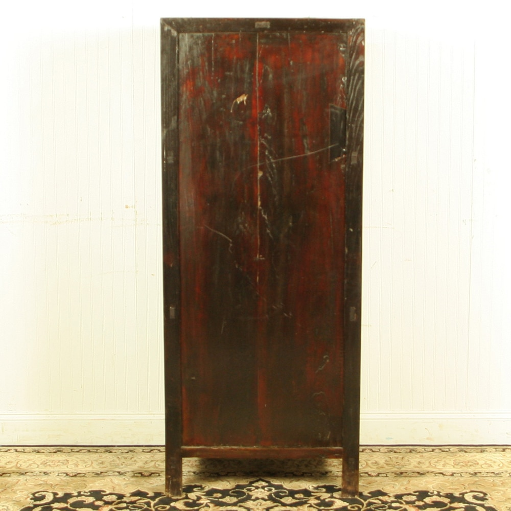 Antique Chinese Tall Display Linen Cabinet 27 Inch Wide 66