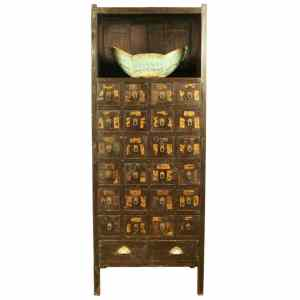 Antique Chinese Medicine Herb Display Cabinet