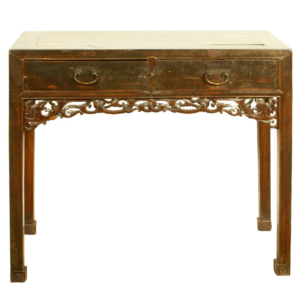 $995.00 $845.75; Antique Chinese 39 Inch 2 Drawer Brown Table