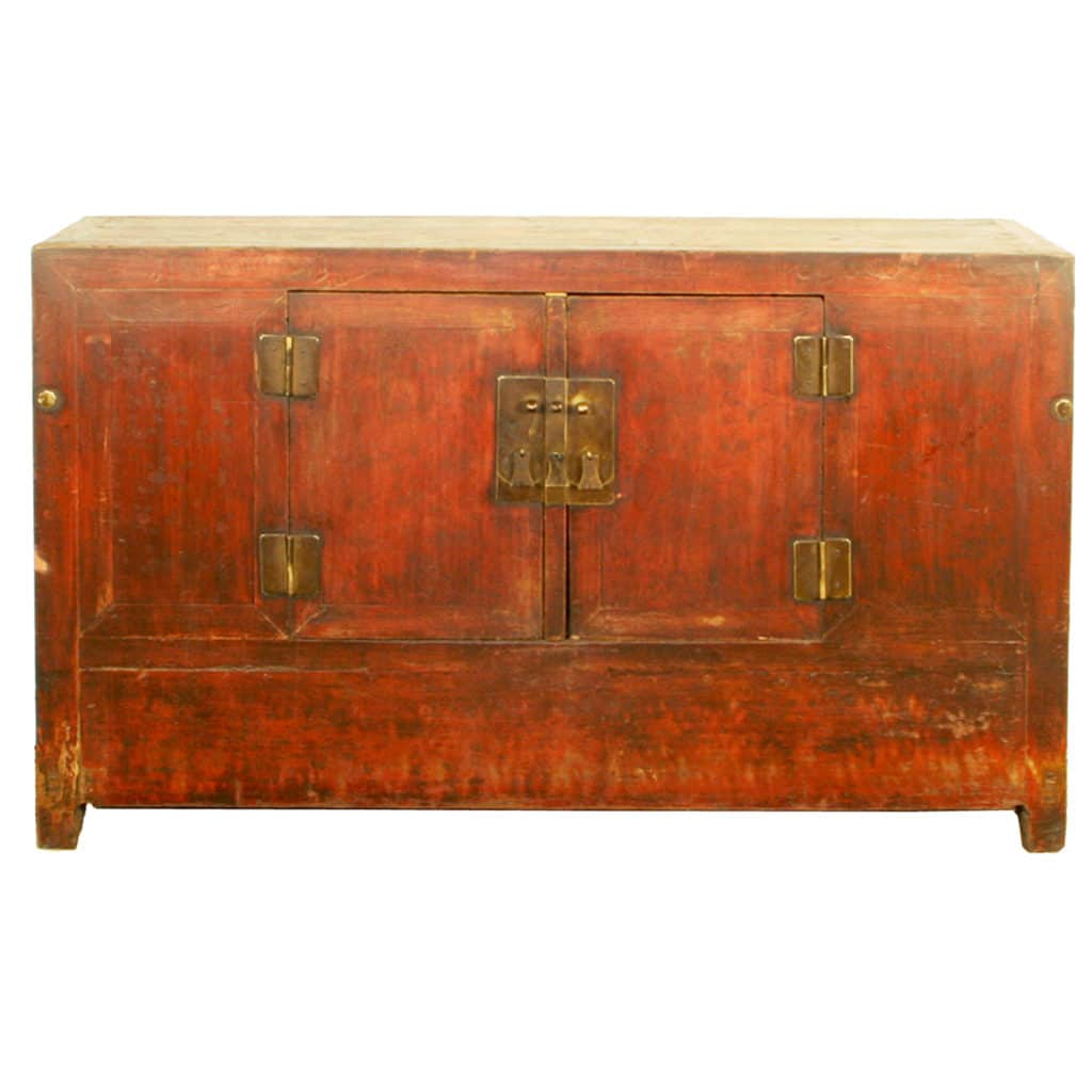 Antique Chinese 62 Inch Red 2 Door Buffet Cabinet