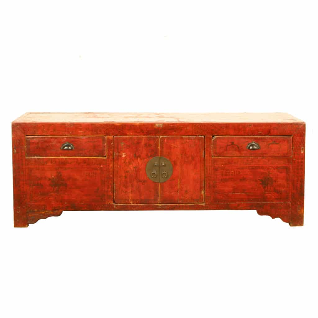 Antique asian low cabinets kang and coffee tables 69500 antique chinese 5 ft long red low kang table cabinet geotapseo Image collections