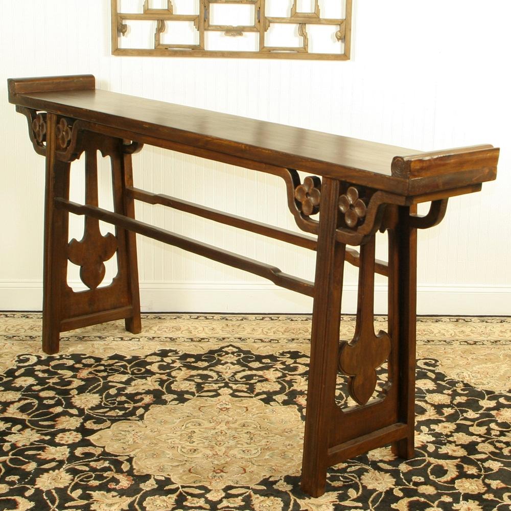 Asian 77 Inch Long Altar Console Sofa Table, 13