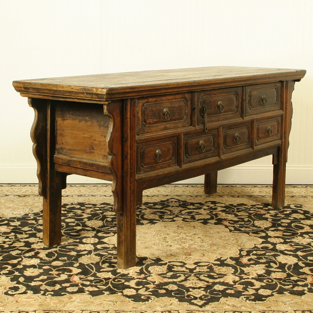 Antique Chinese 68 Inch Long Console Sideboard Table Table 7 Drawers