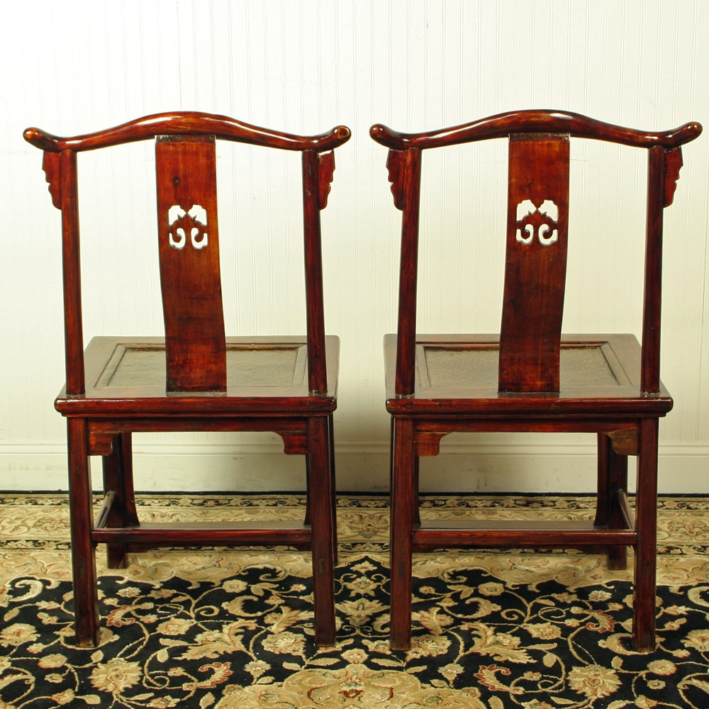 Antique Chinese Yoke Back Official Hat Chairs Brown Lacquer woven seat - Antique Chinese Yoke Back Official Hat Chairs, Pair