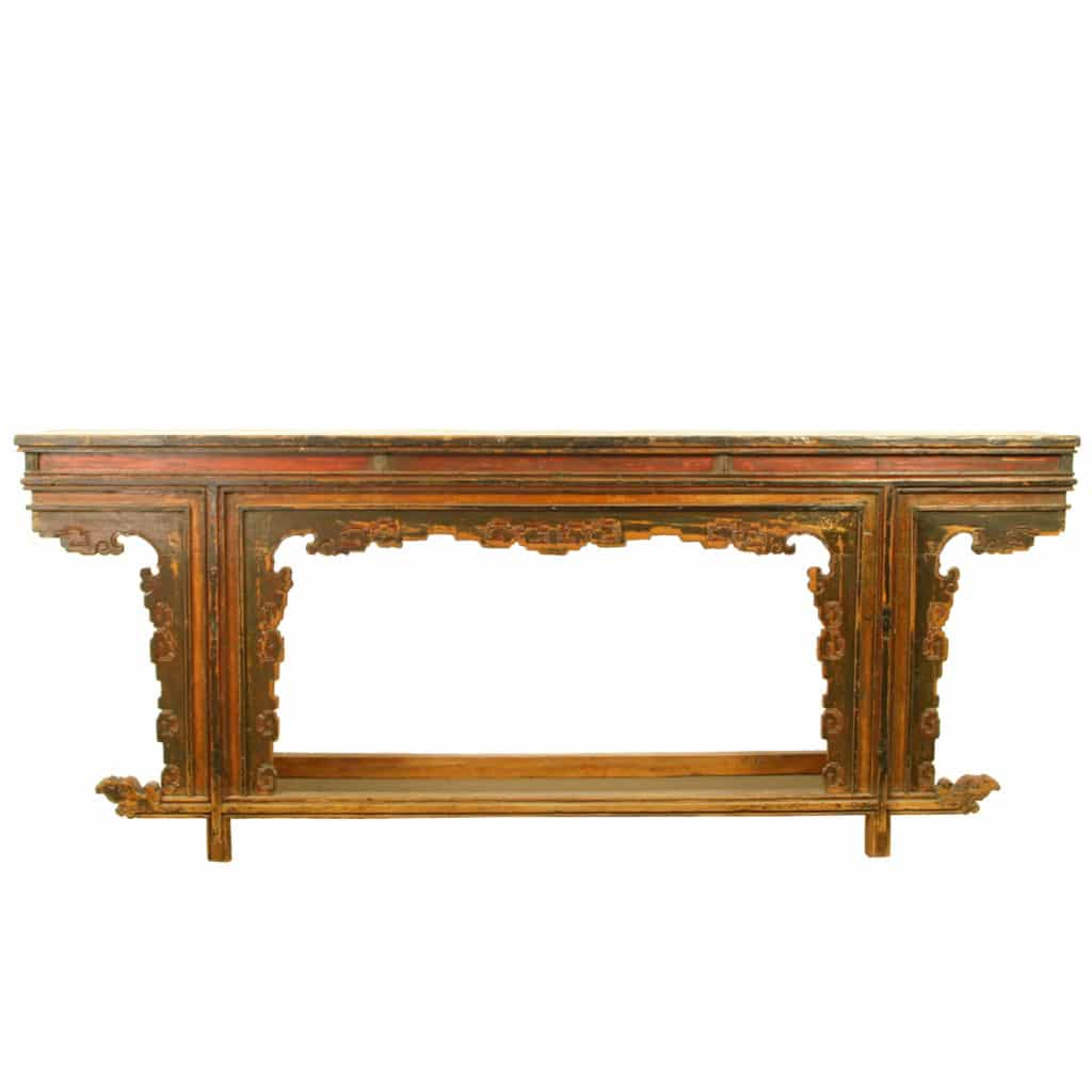 Antique Asian 86 Inch Long Unique Style Altar Table 17 Deep