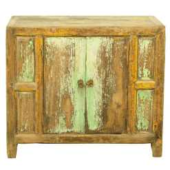 Antique Chinese Rustic Blue Green Cabinet Vanity