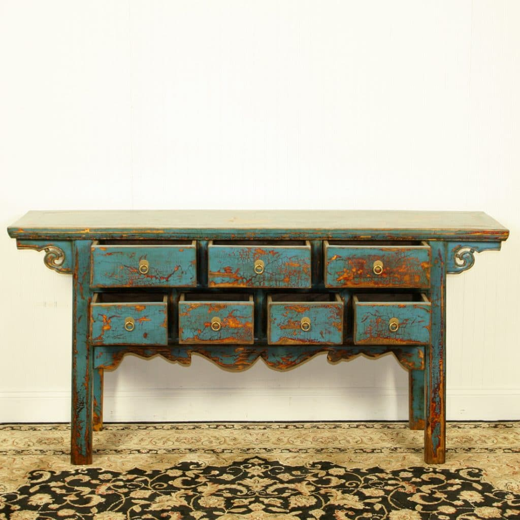64 Inch Long Repro 7 Drawer Table W Antique Blue Finish