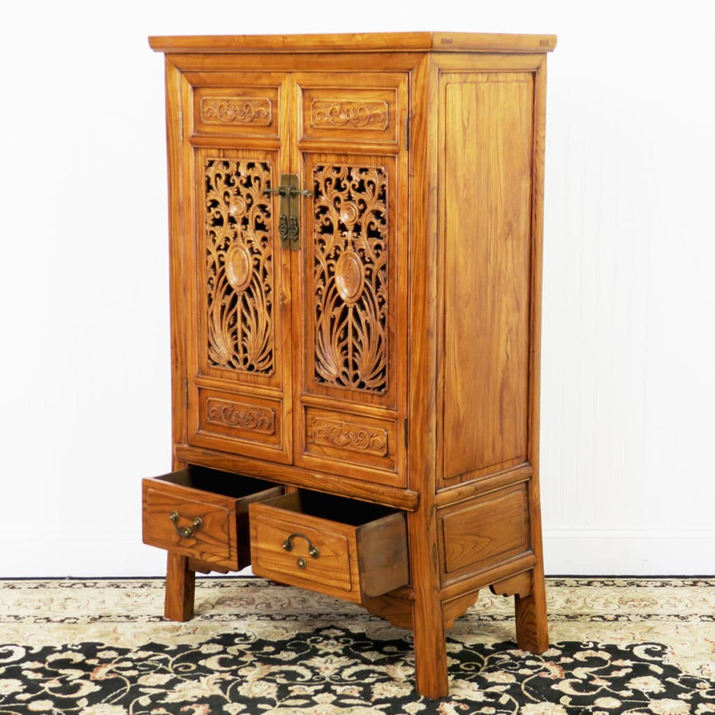Reproduction Chinese Carved 2 Door Elm Wood Cabinet 32″ Wide x 53″ Tall - Chinese Carved 2 Door Elm Wood Cabinet. 53