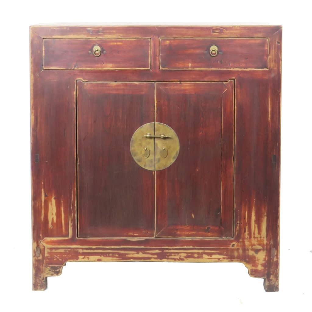 - 41 Inch Wide Antique Chinese 2 Door Brown Cabinet