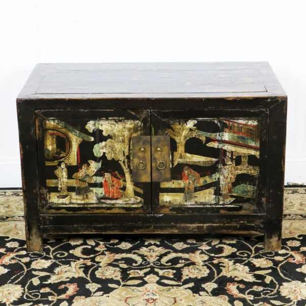 Antique Small 2 Door Black Cabinet Painted Scenes