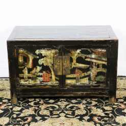 Antique Small 2 Door Black Cabinet Painted Scenes