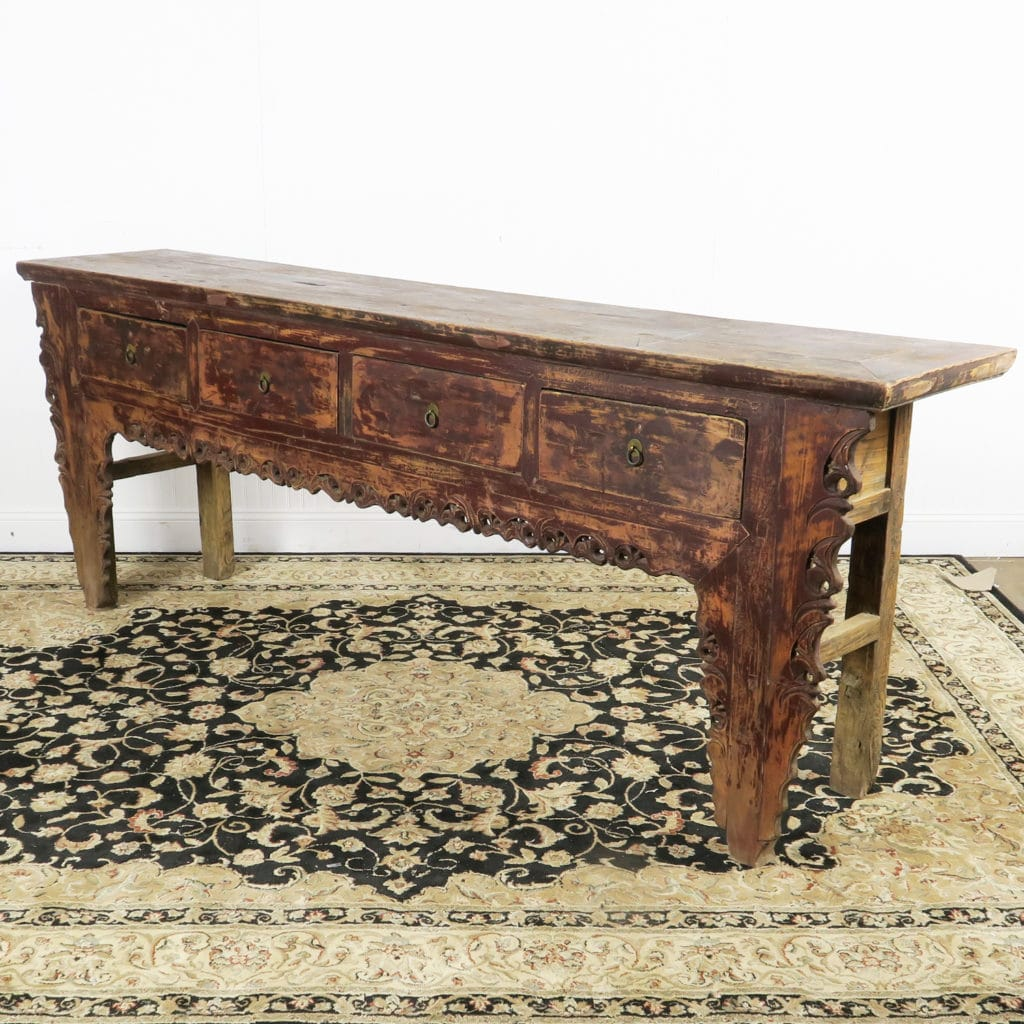 Antique chinese 4 drawer carved console table 93 long antique chinese 4 drawer carved console table geotapseo Gallery