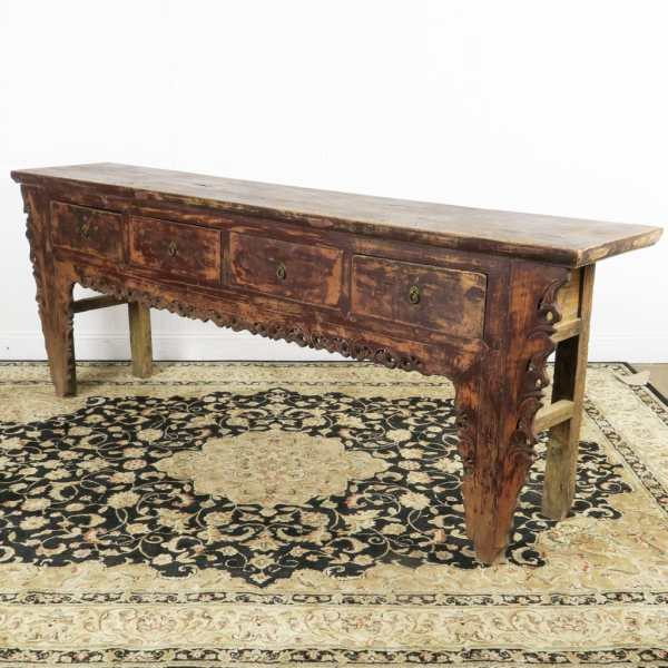 Antique Chinese 4 Drawer Carved Console Table