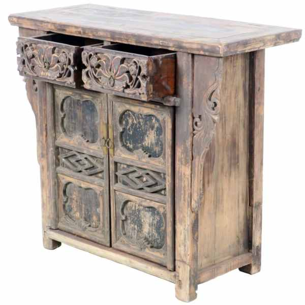 Antique Chinese 42 inch 2 door Carved Cabinet