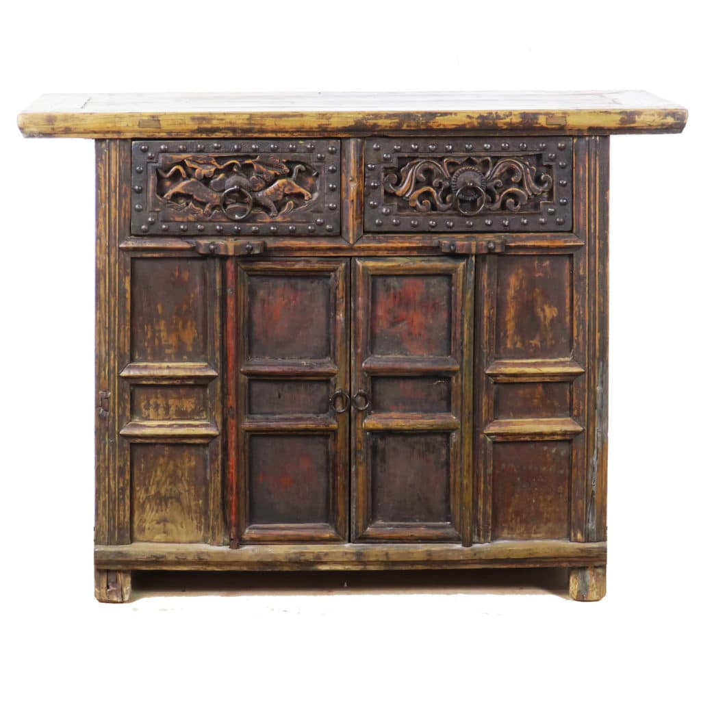 43 Inch Wide Antique Chinese 2 Door Cabinet Vanity Carved Drawers
