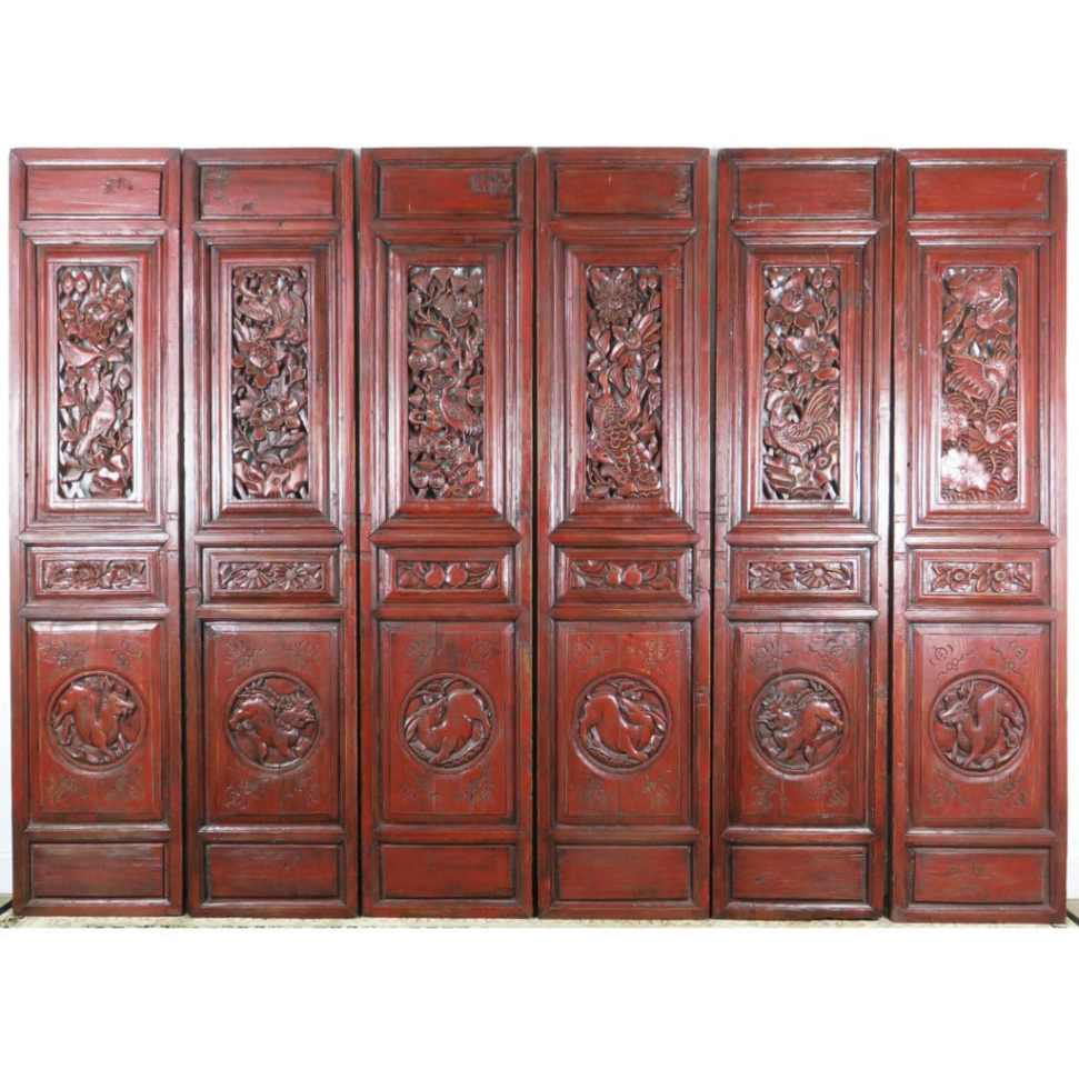 - 6 Carved Red Antique Chinese Asian Doors, 19