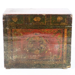 Antique Chinese 37 inch Fancy Painted Cabinet