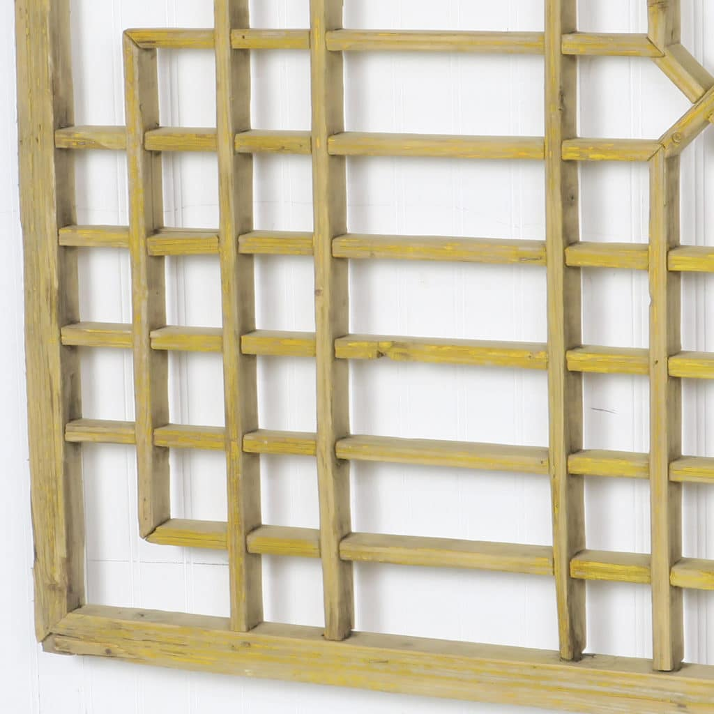 Antique Chinese Wood Screen Wall Art 46 x 39, Unique Accent Artwork
