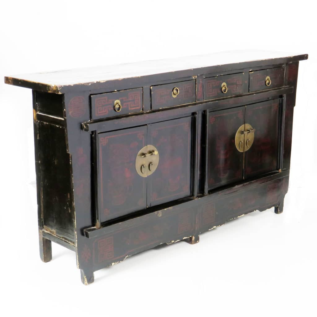 Antique Chinese 67 Inch Black Lacquer Sideboard Asian 4