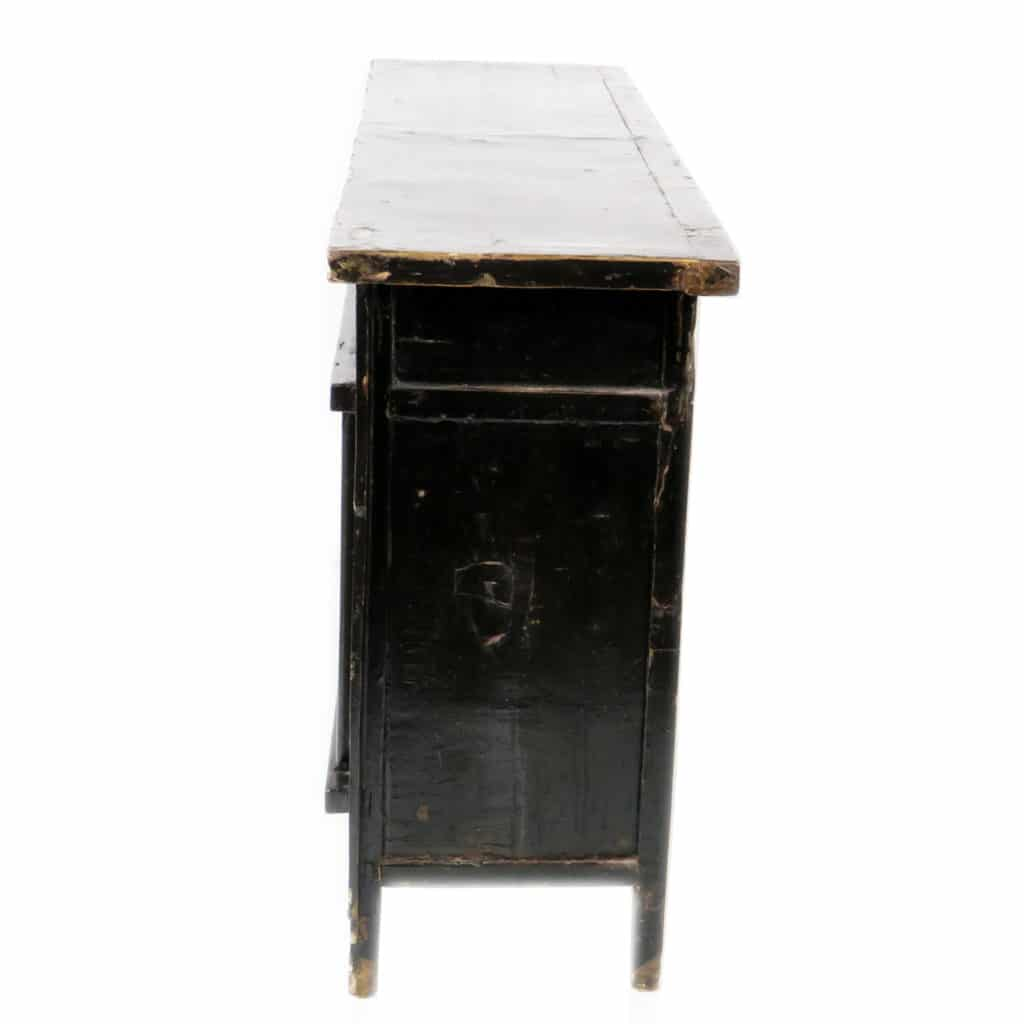 Antique Chinese 67 Inch Black Lacquer Sideboard