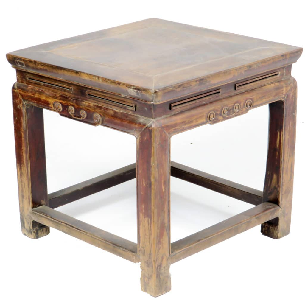 Antique Chinese Wood Stool 19 Inch Square 18 Inch Tall