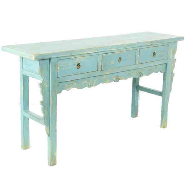 66 inch Repro Antique Blue 3 Drawer Country Console Table