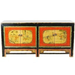Antique Mongolian 4 Door Sideboard Cabinet 68 inch long